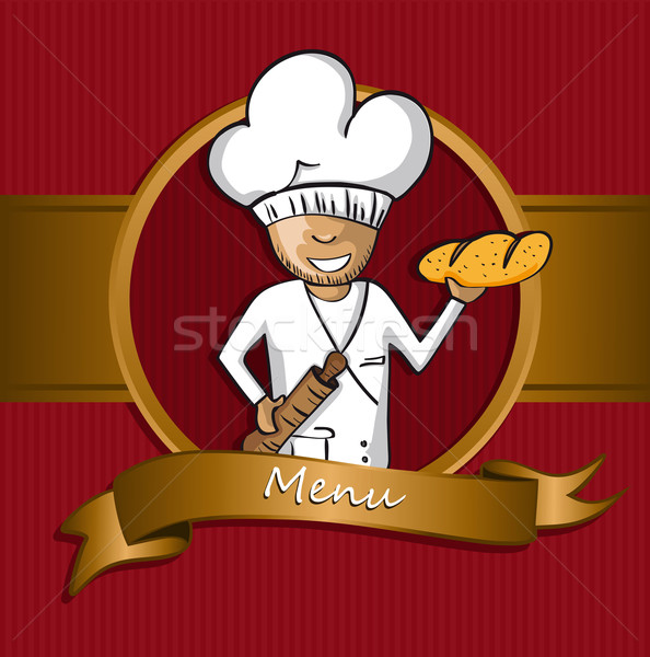 Baker chef cartoon badge menu design Stock photo © cienpies