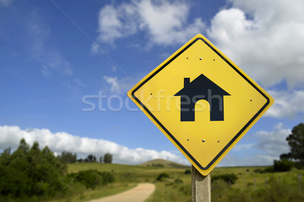 Vásárol saját ház ikon jelzőtábla vidék Stock fotó © cienpies