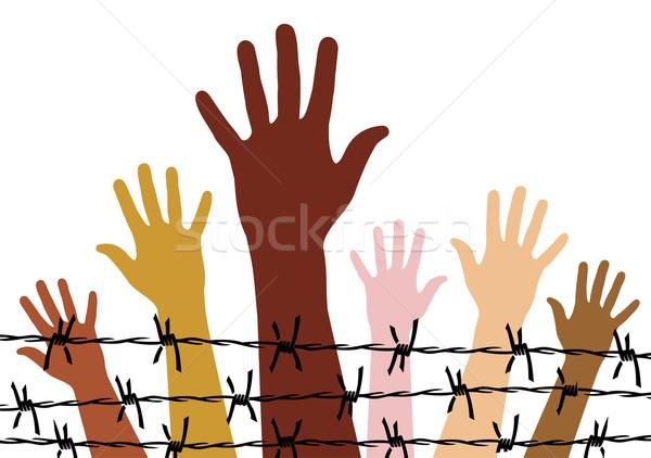 Insan hakları çeşitlilik eller arkasında dikenli tel vektör Stok fotoğraf © cienpies