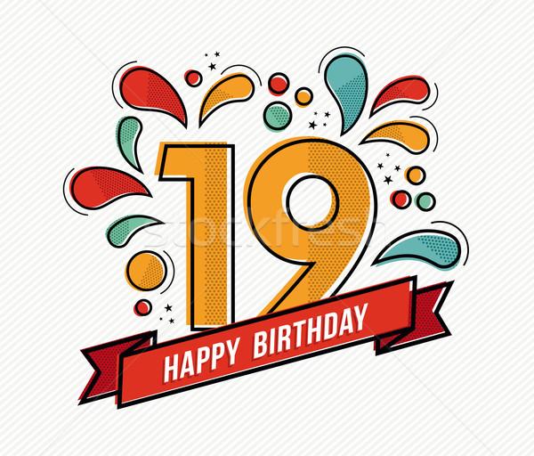 Farbenreich Alles Gute zum Geburtstag Zahl 19 line Design Stock foto © cienpies