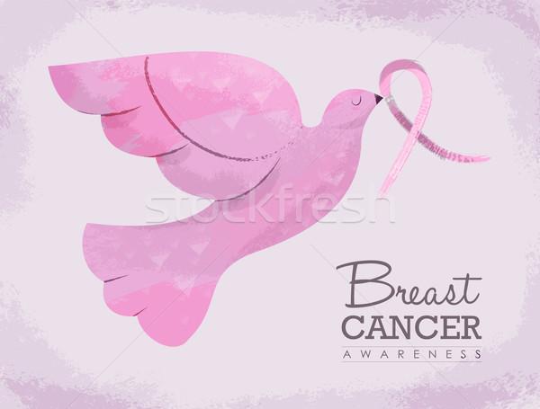 Różowy dove ilustracja rak piersi świadomość ptaków Zdjęcia stock © cienpies