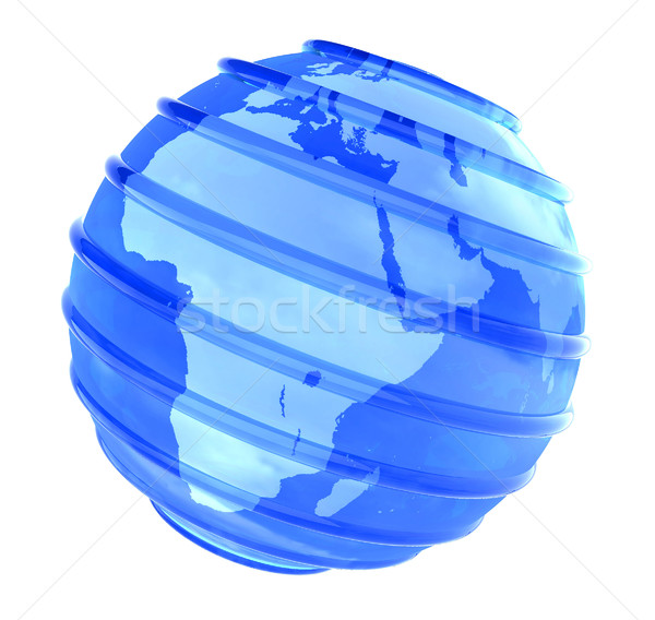 3D Planet glassy Earth focused in Africa Stock photo © cienpies