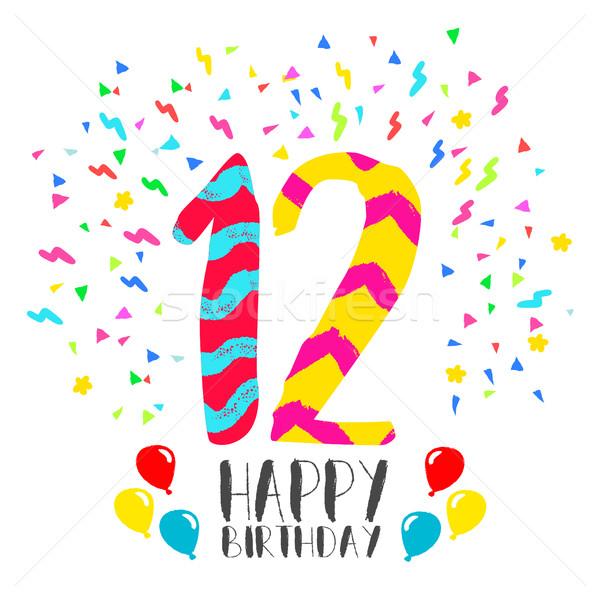 Feliz aniversário 12 ano cartão número Foto stock © cienpies