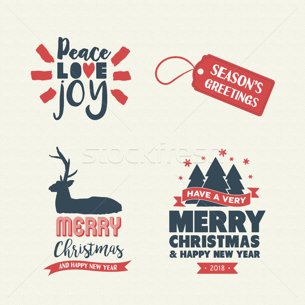 Christmas lettering holiday season retro quote set Stock photo © cienpies