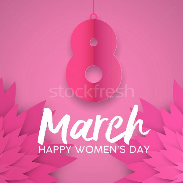 Roze papier gesneden wenskaart Stockfoto © cienpies