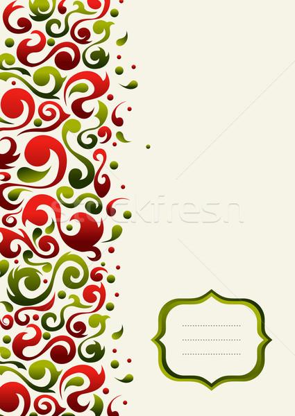 Stockfoto: Christmas · briefkaart · groene · Rood
