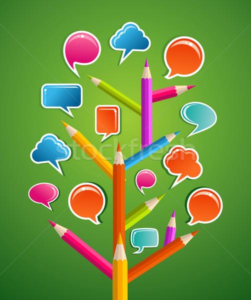 Educative Social media tree Stock photo © cienpies