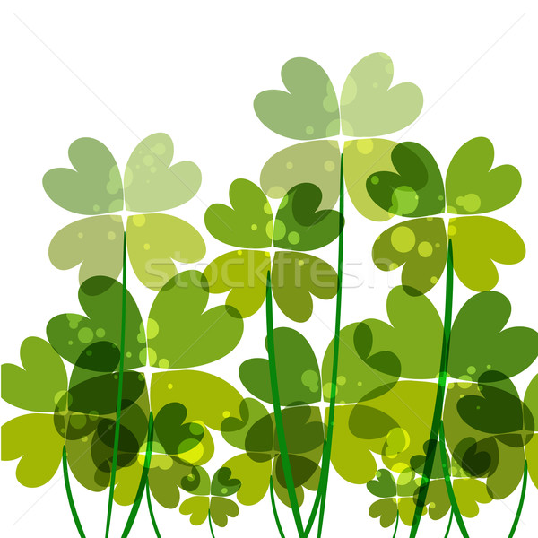 Green transparency clovers Stock photo © cienpies