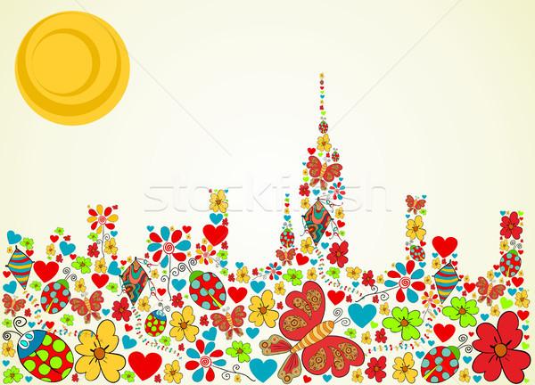 Stock foto: Frühling · Zeit · Frühlingsblume · Schmetterling · Symbole