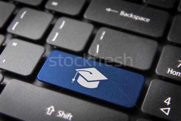 Kék érettségi billentyűzet kulcs oktatás kalap Stock fotó © cienpies