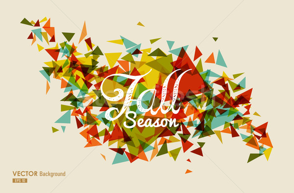 Colorful fall season text with triangles concept background EPS1 Stock photo © cienpies