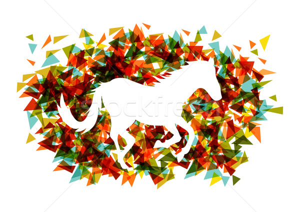 Chinese new year of the Horse shape triangle EPS10 file. Stock photo © cienpies