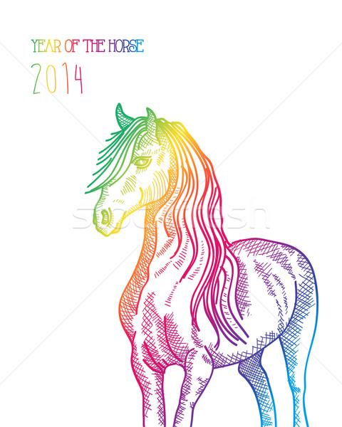 Rainbow capodanno cinese cavallo 2014 isolato felice Foto d'archivio © cienpies