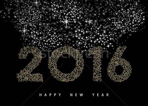 Gelukkig nieuwjaar 2016 goud monogram ornament wenskaart Stockfoto © cienpies