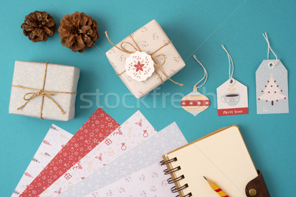 Christmas vintage mockup top view Stock photo © cienpies