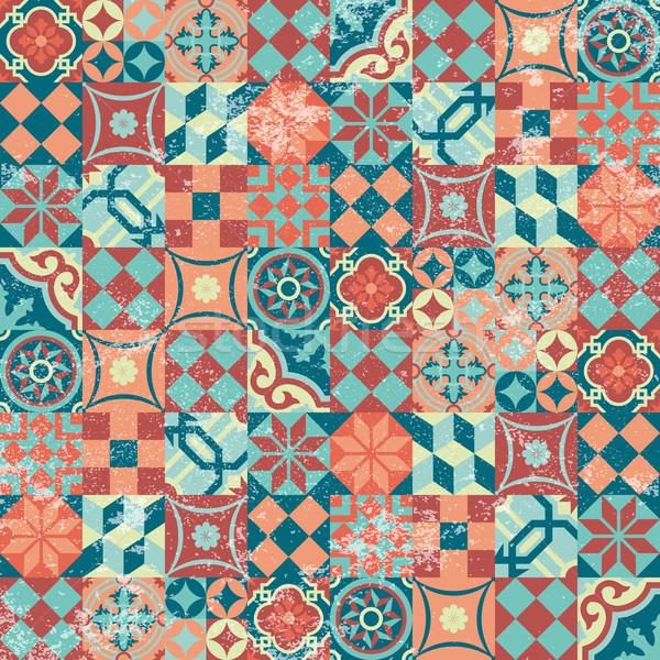 Yama işi bağbozumu mozaik geleneksel Stok fotoğraf © cienpies