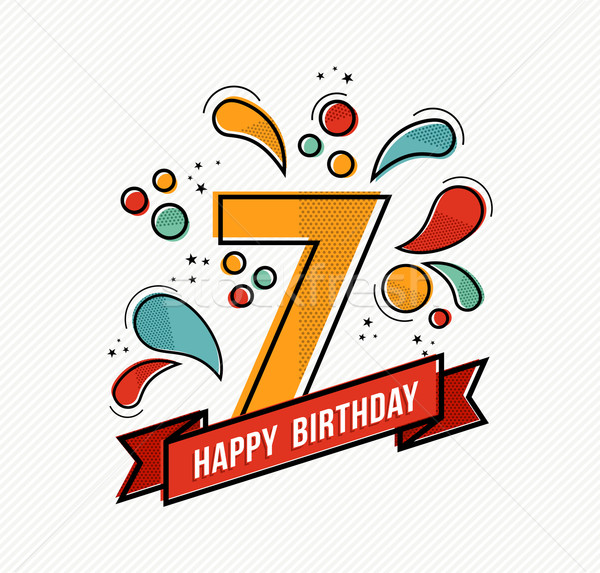 Colorful happy birthday number 7 flat line design Stock photo © cienpies