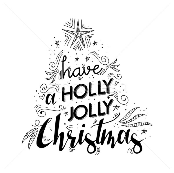 Merry christmas lettering quote with xmas elements Stock photo © cienpies