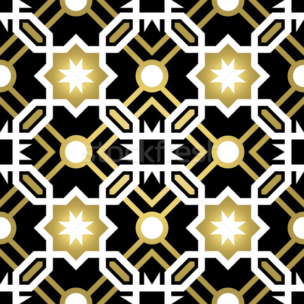 Gold ceramic tile abstract seamless pattern Stock photo © cienpies