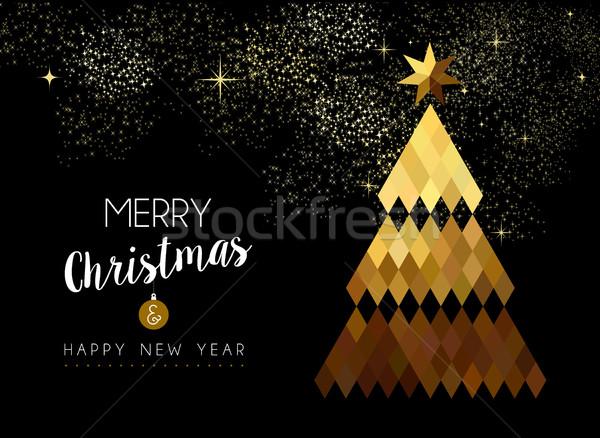 Vrolijk christmas ontwerp goud laag pijnboom Stockfoto © cienpies