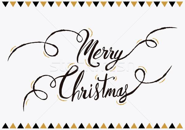 Merry christmas lettering text greeting card Stock photo © cienpies