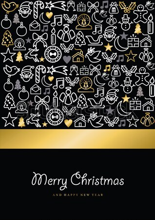 Christmas and new year gold line art greeting card Stock photo © cienpies