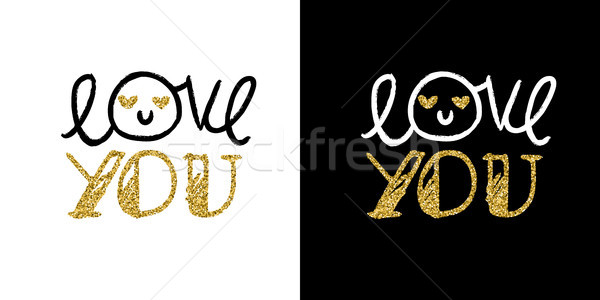Valentines day gold glitter hand drawn quote card Stock photo © cienpies