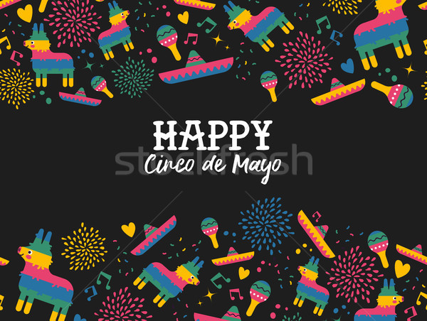 Happy Cinco de mayo mexican pattern greeting card Stock photo © cienpies