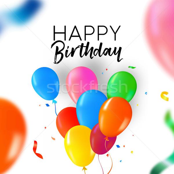 Joyeux anniversaire fête ballon confettis carte carte de vœux Photo stock © cienpies