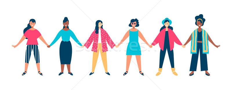 女性 グループ 手をつない 一緒に 特別イベント ストックフォト © cienpies