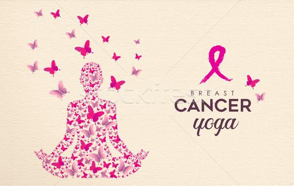 Photo stock: Cancer · du · sein · conscience · rose · papillon · yoga · design