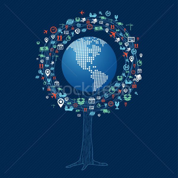 Globale technologie communicatie boom wereld Stockfoto © cienpies