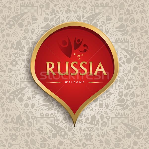 Oroszország sablon futball esemény szimbólum textúra Stock fotó © cienpies