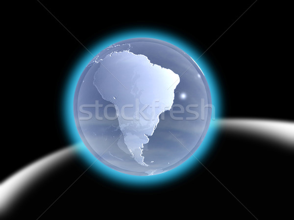 Planet earth with tech lines on black background.  Stock photo © cienpies