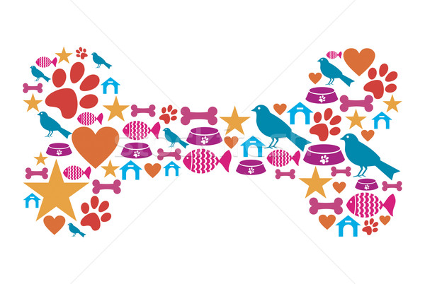 Stock photo: Dog bone shape with pet icon set