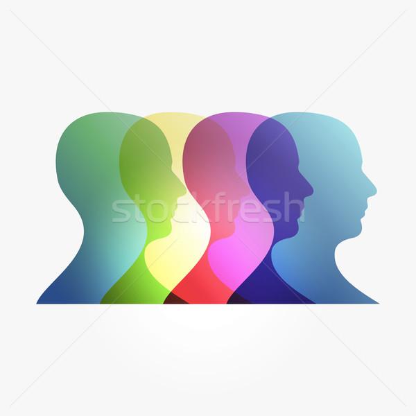 Rainbow transparency heads Stock photo © cienpies