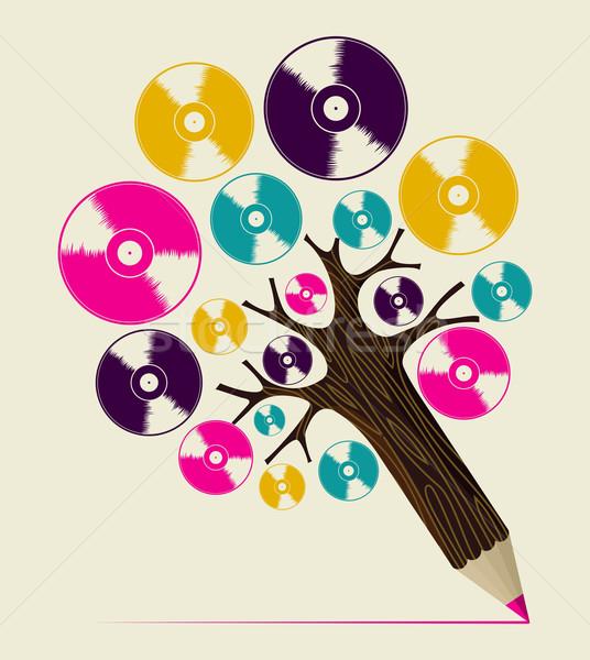 Retro music concept art tree Stock photo © cienpies