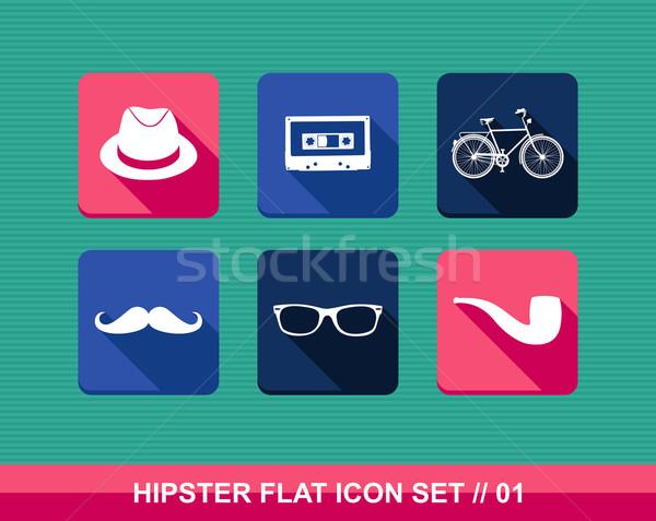 Stock photo: Retro hipsters flat icons set.