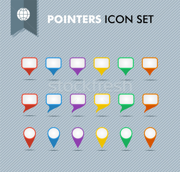 Pointers and speech bubbles icons set EPS10 vector file. Stock photo © cienpies