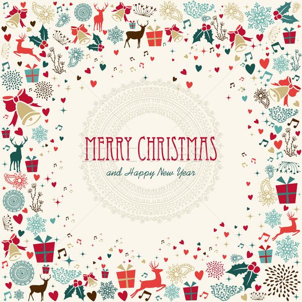 Foto d'archivio: Allegro · Natale · vacanze · colorato · icone · illustrazione