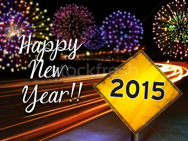 Happy New Year 2015 fireworks and highway card Stock photo © cienpies