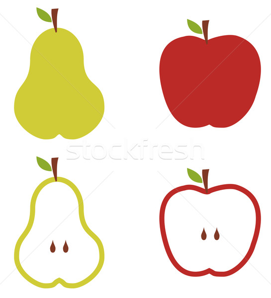 Pear and apple pattern illustration. Stock photo © cienpies
