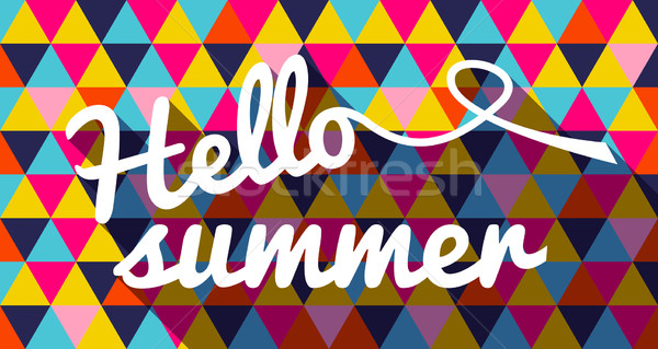 Hello summer quote on geometric color background Stock photo © cienpies