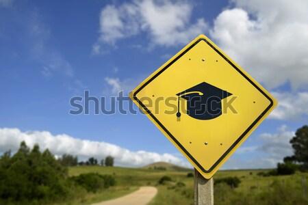 Kangaroo wild animal warning on road sign icon Stock photo © cienpies