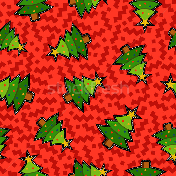 Christmas pine tree patch icon pattern background Stock photo © cienpies