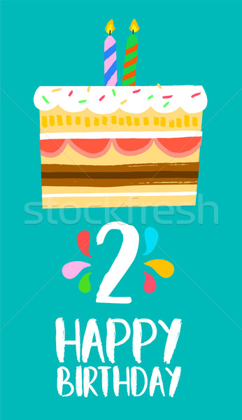Happy Birthday card for 2 two year fun party cake Stock photo © cienpies