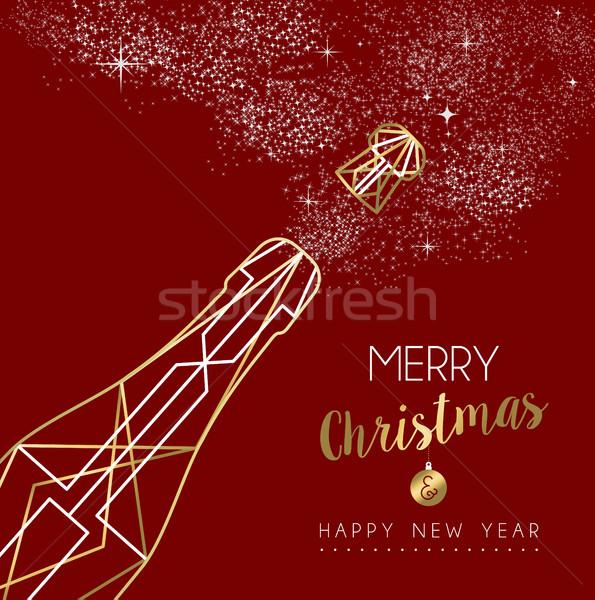 Stok fotoğraf: Neşeli · Noel · happy · new · year · şişe · altın