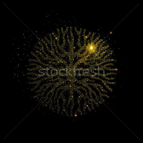 Abstrato árvore forma ouro brilho poeira Foto stock © cienpies