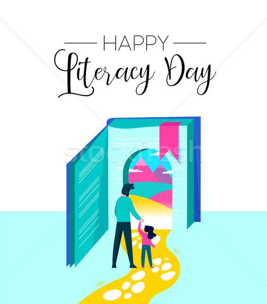 Műveltség nap könyv képzelet gyerekek boldog Stock fotó © cienpies