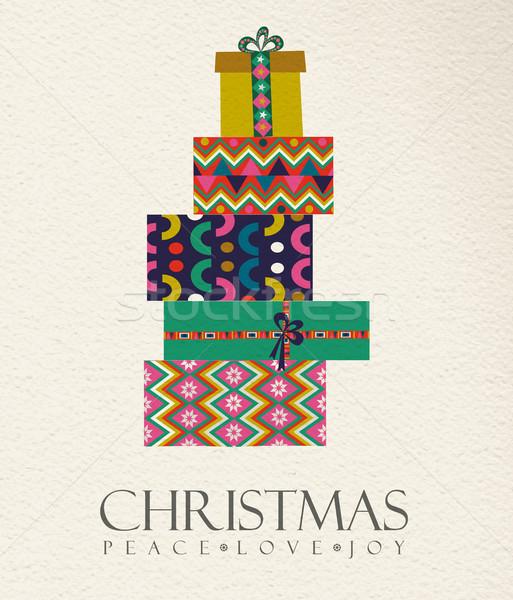 Christmas gift box card in vintage folk art style Stock photo © cienpies